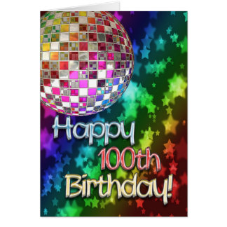 Tarjeta 100o cumpleaños con la bola de discoteca y el arco
