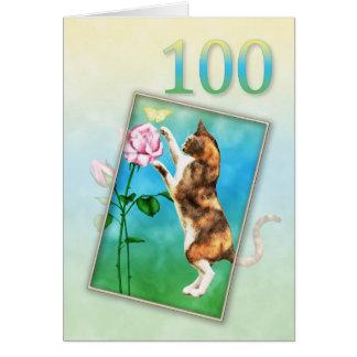 Tarjeta 100o Cumpleaños con un gato juguetón