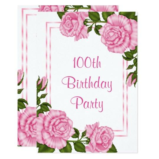 Tarjeta 100o cumpleaños de los ramos de la esquina rosados