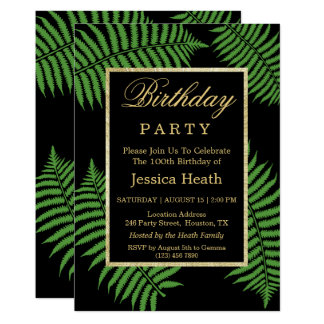 Tarjeta 100o cumpleaños del helecho con clase elegante