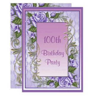 Tarjeta 100o cumpleaños enmarcado rosa púrpura elegante