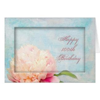 Tarjeta 100o cumpleaños - Peony enmarcado
