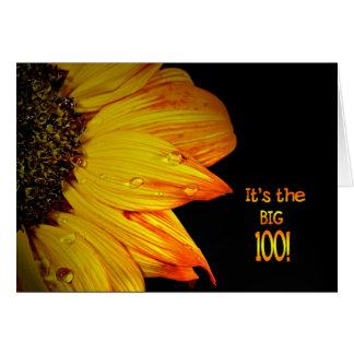 Tarjeta 100o Girasol del cumpleaños