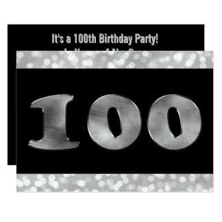 Tarjeta 100o Número de plata 100 del cumpleaños el Party|