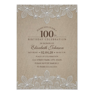 Tarjeta 100o Perlas y cordón rústicos de la arpillera de