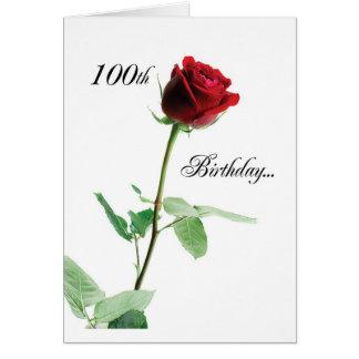 Tarjeta 100o rojo feliz Rose_O del cumpleaños 2724