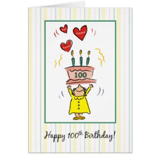 Tarjeta 100o Torta y corazones de cumpleaños para la mujer