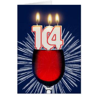 Tarjeta 104o Cumpleaños con el vino y las velas