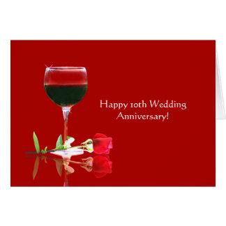 Tarjeta 10mo aniversario de boda feliz elegante