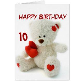 Tarjeta 10mo tema del oso de peluche del feliz cumpleaños