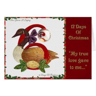 Tarjeta 12 días de navidad seis colocaciones de los gansos