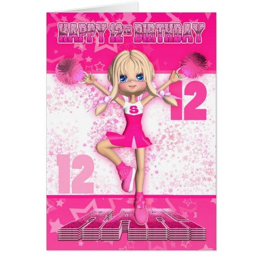 Tarjeta 12mo Baile de la animadora del cumpleaños,