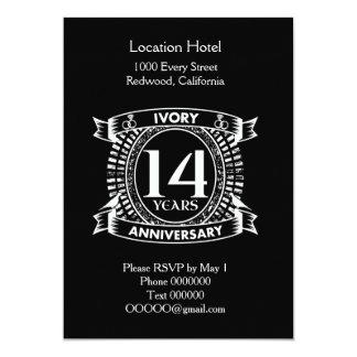 Tarjeta 14to aniversario de la MARFIL del boda