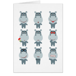 Tarjeta 15 de febrero - día del hipopótamo - día del
