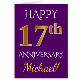 Tarjeta 17mo aniversario de boda del oro púrpura, falso +