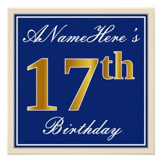 Tarjeta 17mo cumpleaños del oro elegante, azul, falso +