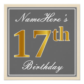 Tarjeta 17mo cumpleaños del oro elegante, gris, falso +