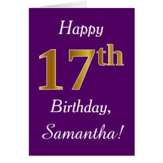 Tarjeta 17mo cumpleaños del oro púrpura, falso + Nombre de