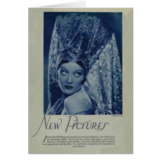 Tarjeta 1928 del retrato del vintage de Joan