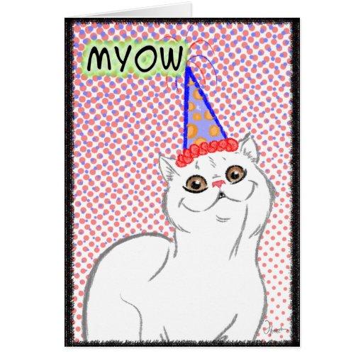 Tarjeta 1 del feliz cumpleaños del gato