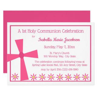 Tarjeta 1r Cruz y flores de la comunión