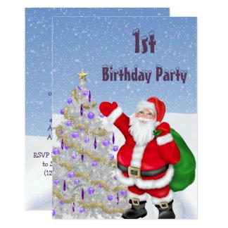 Tarjeta 1r cumpleaños de Papá Noel y del árbol de navidad