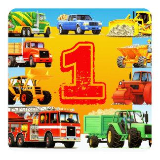 Tarjeta 1r fiesta del camión de la construcción del