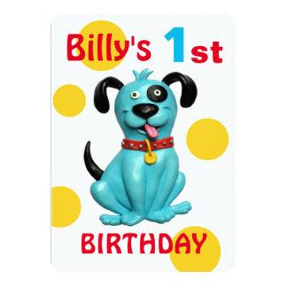 Tarjeta 1r muchacho azul lindo del perro de perrito de la