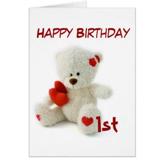 Tarjeta 1r tema del oso de peluche del feliz cumpleaños