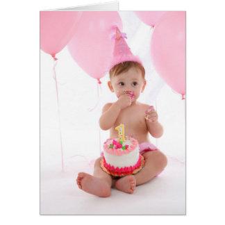 Tarjeta 1r Torta de cumpleaños