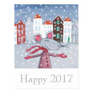 Tarjeta 2017 feliz de la Feliz Año Nuevo del ratón