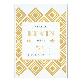 Tarjeta 21ro Blanco y oro del cumpleaños