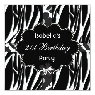 Tarjeta 21ro Cebra salvaje blanca de cumpleaños del negro