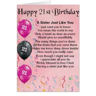 Tarjeta 21ro cumpleaños feliz - poema de la hermana