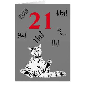Tarjeta 21ro Gato divertido del cumpleaños para el varón