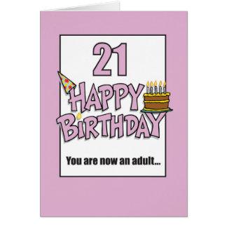 Tarjeta 21ro rosa feliz del cumpleaños