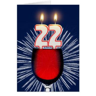 Tarjeta 22do Cumpleaños con el vino y las velas