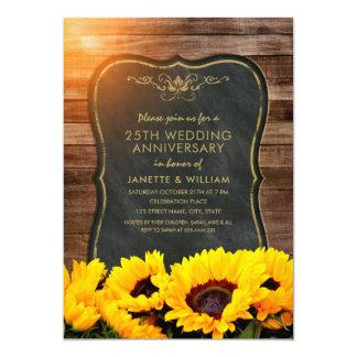 Tarjeta 25ta caída rústica del aniversario de boda del