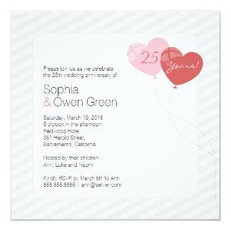 Tarjeta 25ta fiesta de aniversario de la bodas de plata de