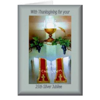 Tarjeta 25ta ordenación del aniversario del católico