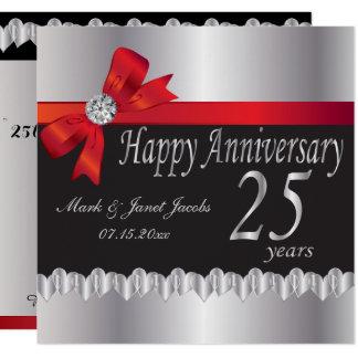 Tarjeta 25to aniversario de bodas de plata feliz
