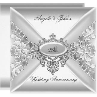 Tarjeta 25to Blanco de plata elegante del aniversario de