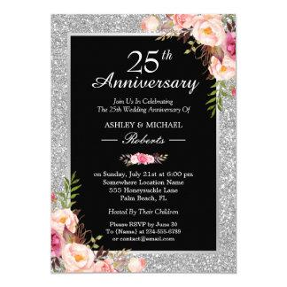 Tarjeta 25to Floral elegante del aniversario de bodas de