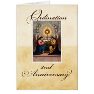 Tarjeta 2do Ángeles del aniversario de la ordenación en el