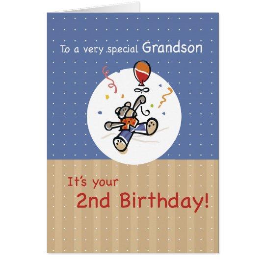 Tarjeta 2do cumpleaños del globo del oso de peluche del