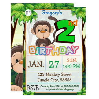 Tarjeta 2do Personalizado del mono de la fiesta de