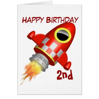 Tarjeta 2do tema de la nave de Rocket del feliz cumpleaños