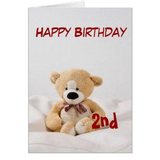 Tarjeta 2do tema del oso de peluche del feliz cumpleaños