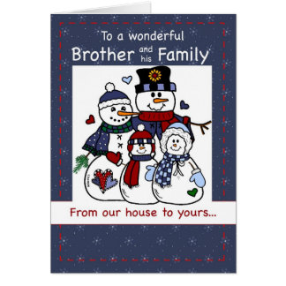 Tarjeta 3396 Brother y navidad de la familia del muñeco de