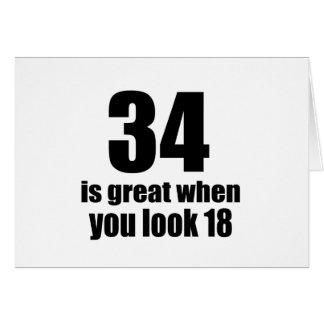 Tarjeta 34 es grande cuando usted mira cumpleaños